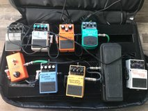 Electric Guitar pedal board with pedals in Oswego, Illinois