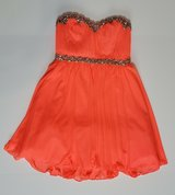 JUNIOR FLORESCENT ORANGE DANCE PROM HOMECOMING DRESS SIZE 3 in Naperville, Illinois