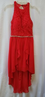 BEAUTIFUL RED PROM DRESS DANCE FORMAL DRESS WITH HIGH LOW BOTTOM SIZE 3 in Naperville, Illinois