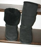 Kirkland Black Suede Faux Fur Lined Boots, Wear Tall or Roll Down, Sz 8 in Westmont, Illinois