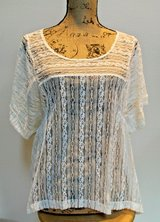 Free People Cream Nylon Lace Overlay Scoop Neck Top, Short Sleeves, Medium in Westmont, Illinois