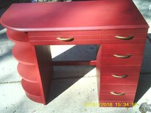 DESK VINTAGE USABLE ALL WOOD PAINTED RED in Westmont, Illinois