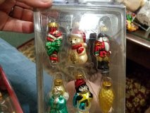 "2"" Miniature Blown Glass Christmas Ornaments!       Set of 6 …..Candy Cane,, Bear, Angel, Penquin in Kingwood, Texas"