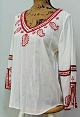 Lucky Brand Beige 3/4 Sleeve Embroidered Classic Boho Top, Medium in Glendale Heights, Illinois