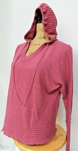 Akini Active Wear Comfy Hooded Pullover Sweater, Ribbed Detail, Dusty Rose, Medium in Naperville, Illinois