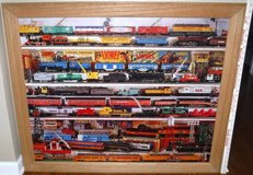 """Vintage LARGE Framed Train Art ~ Lionel Trains """"On the Right Track"""" in Naperville, Illinois"""