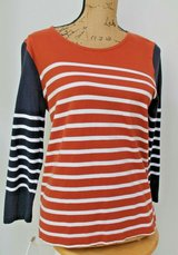 J.Crew Stripe 3/4 Sleeve Cotton Top, Burnt Orange & Navy & White Stripe, Large in Naperville, Illinois