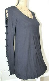 Not a Basic Black Longer Knit Top, Stylish Long Ladder Sleeves, Small in Joliet, Illinois