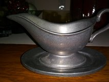 vintage wilton pewter gravy sauce boat with pewter drip plate made in usa in Fort Campbell, Kentucky