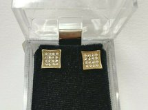 square, gold-tone cubic zirconia, stainless steel earrings in Camp Lejeune, North Carolina