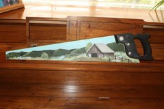 HAND PAINTED Folk Art Hand SAW on Rare Antique Disston in Spring, Texas