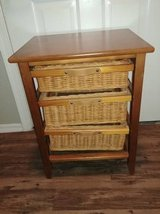Maple side table wicker drawers with leather pulls in Phoenix, Arizona