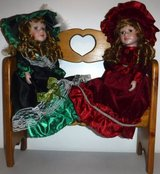 "Like New! 2 Victorian 16"" Porcelain Dolls + Wood Bench in Naperville, Illinois"