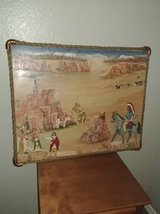 Rope copper framed oil painting of Indian village in Phoenix, Arizona