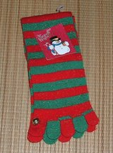 NEW DML Red Green Metallic Stripe Toed Knee High Socks w Bell 9 - 11 Shoe 4 - 10 in Chicago, Illinois