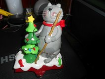 Painted Cast Iron Stocking Holding! Gray Cat Fishing in Bellaire, Texas