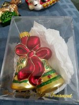 Pretty Blown Glass Golden Bells Ornament! Shiny and Glittery! w/ Acrylic Box in Bellaire, Texas