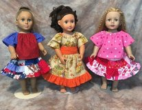 "Handmade 3 holiday outfits valentine's, 4th july & fall harvest Fits American Girl & 18"" Dolls in Yucca Valley, California"