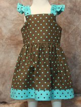 brown with turquoise dots handmade sun dress with bloomers size 6m in Yucca Valley, California