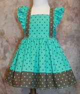 turquoise with brown dots handmade sun dress with bloomers size 18m in Yucca Valley, California