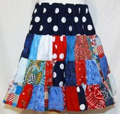 handmade red, white & blue crazy fun patchwork twirl skirt size 4t in Yucca Valley, California