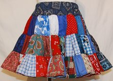handmade red, white & blue crazy fun patchwork twirl skirt size 2t in Yucca Valley, California