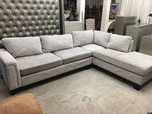 2pc Grey Upholstered Nailhead Sectional Sofa in Naperville, Illinois