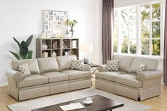 New! Beige Sleek Fabric Sofa and Loveseat FREE DELIVERY in Miramar, California