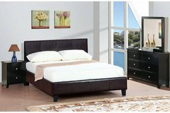 New! Queen Espresso Leatherette Platform Bed FREE DELIVERY in Miramar, California