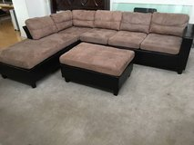 2pc Leather Base Brown Sectional Sofa with Ottoman in Joliet, Illinois