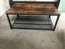 Rectangle Rustic Brown Look Coffee Table with Dense Mesh Metal Shelf in Joliet, Illinois