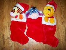 (3) disney xmas stocking plush 3d eeyore,winnie the pooh ,tigger - vg conditon in Orland Park, Illinois
