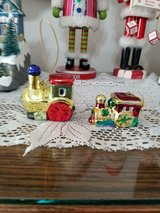 """ceramic train engine ornaments ( mixed set of 2)!  2"""" wide   colorful and shiny! in Bellaire, Texas"""