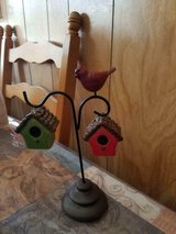 "Ceramic Cardinal Bird on Stand w/ Bird Houses as Salt & Pepper Shakers! 10"" in Bellaire, Texas"
