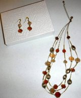 """Gold/Amber Ivory 3 Strand 16-19"""" Necklace + Matching Earrings in Orland Park, Illinois"""