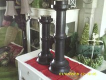 REDUCED....CANDLE HOLDERS WOOD FROM WORLD MARKET TALL in Westmont, Illinois