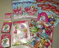 shopkins birthday party supplies tablecloths card game loot treat bags candles in Aurora, Illinois