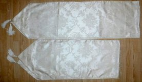 Set of 2 Table Runners ~White on Ivory w/tassels in Joliet, Illinois