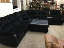 3pc Black Upholstered Leather Base Sectional Reclining Sofa + Ottoman in Joliet, Illinois