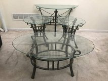 3pc  Glass Top Wrought Iron Base Coffee Table Set + Console in Joliet, Illinois