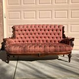 Antique Parlor Sofa / Couch with Carved Wood Accents in Travis AFB, California