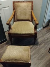 Large French country chair with stool in Luke AFB, Arizona