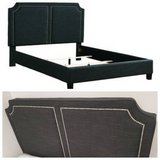 New! QUEEN Size Charcoal Linen Double Panel Bedframe FREE DELIVERY in Miramar, California