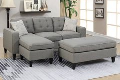 New! 2-Pcs Gray Mini Sectional with Ottoman FREE DELIVERY in Miramar, California
