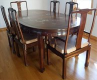 Rosewood w/Asian Mother of Pearl Dining Set ~Table -2 Leaves 8 Chairs in Orland Park, Illinois