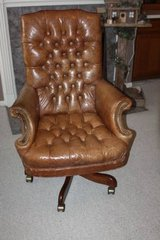 Leather Study or Desk Chair with Wheels in Kingwood, Texas