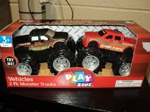 Play Zone Vehicles 2 Pk. Monster Trucks, Red & Black colors (T=20) in Fort Campbell, Kentucky
