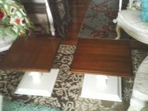 A SET SOLD AS ONE ,ALL WOOD ,PEDESTAL END TABLES in Orland Park, Illinois