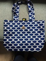 Blue and white patterned tote bag in Quantico, Virginia
