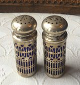 set of 2 silverplate and cobalt blue glass salt and pepper shakers made in uk in Quantico, Virginia